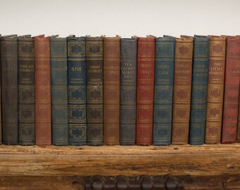 You Pick – Vintage 40s-50s Books, Literary Classics, Shelf Home Library Decor, Gold Gilt Spine, Hardcover Lot Brown/Red/Green/Blue, Art-Type