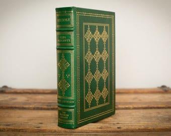 History, Elsa Morante Book, First Edition, 1977 Franklin Library, Vintage 70s, Leather Bound Hardcover, Gold Gilding Foil, Dark Green