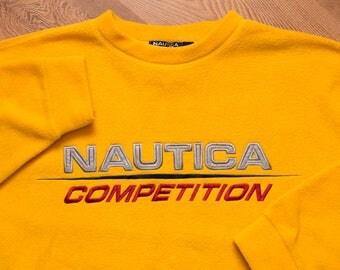 Nautica Competition NauTech Fleece Sweatshirt, Vintage 90s, Long Sleeve Sweater Shirt, Yellow Crewneck, Reflective Spell Out