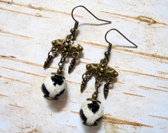 Black and White Boho Ethnic Earrings (3288)