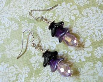 Purple and Lavender Floral Earrings (3501)