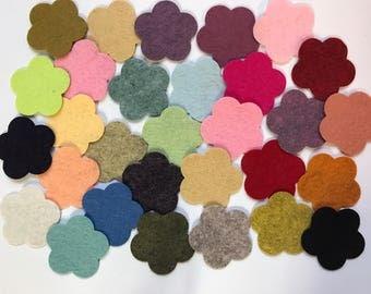 Wool Felt Flower Die Cut - 30 total - Random Colored 3016 - headband supplies - flower crown - DIY crafts - Kids Crafts - Hair clip supply