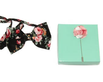 Men's Black Pink Floral Pre-Tied Bow Tie and Floral Lapel Stick Pin