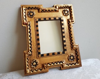 Vintage Bohemian Wall Mirror by Belart Gold With Black Accents, Faux Carved Wood Wall Decor