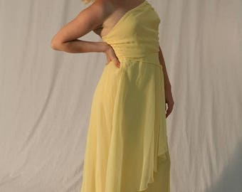 MaySale Vintage 80s Yellow Gown: The Yellow Goddess Dress