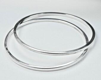 Modernist Bangle Bracelet Set Sterling Silver Minimalist Bangles Vintage Silver Bangle Bracelet Duo Set Of 2 925