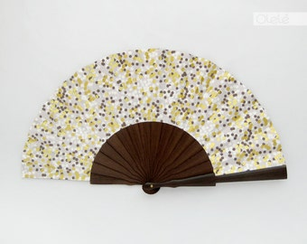 Wooden hand fan with leather sleeve - Golden glitter snow - party hand fan - night out accessory - the perfect gift for your best friend