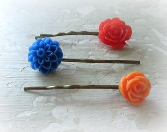 Sale Hair Pins, Flower Bobby Pins, Floral Hair Pins, Colorful Hairpins, Bobby Pin Set, Kids Hair Pins, Flower Hair Pins, Gift for Girls