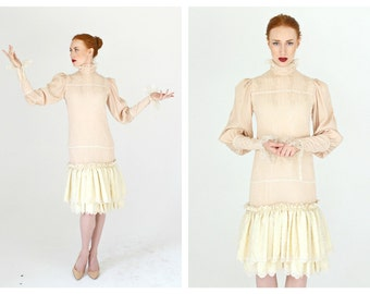 Pink and Cream Lace High Collar Dress- Edwardian Style, Vintage Doll Lolita Poet Sleeve Dress