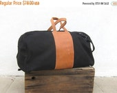 5 day, Sale 15% off 80s Giant Duffle Black Canvas Tan Leather Travel Overnight Carryon Weekender Bag w/Strap