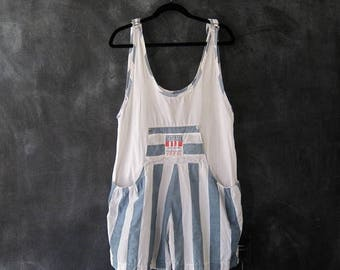 15% Off Out of Town Sale 80s 90s Overalls Jumper Onesie Romper Oversized Cotton Stripe Unisex Size M