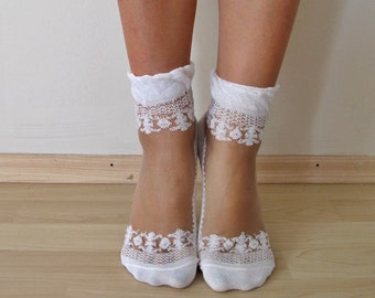 White Lace Socks, Transparent Socks,crystal lacy socks, ultra thin, transparent top, cotton bottom, elegant shape