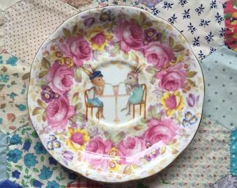 Milkshake Bunnies with Floral Illustrated Vintage Plate