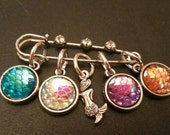 Mermaid Snag Free Stitch Markers 2 inch Stitch Holder Set of 5 Knit Crochet Yarnista unique trending Gifts for Beach Babe Sea Lover Mom Gran
