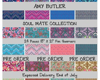 "PRE ORDER - Soul Mate - Amy Butler 18"" X 21"" Fat Quarters - 24 Piece Bundle - Cotton - expected July delivery"