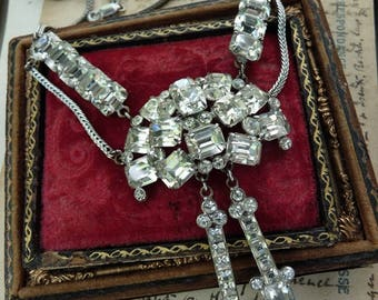 SALE:  Unique Vintage Rhinestone Necklace, Marie Antoinette Adornment, offered by RusticGypsyCreations