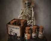 CLEARANCE Crate of Magic Potions Miniature 1:12 Dollhouse Scale 6 Glass bottles filled, Eye of Newt,Unicorn Horns etc, Witch Wizard Haunted