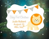 Personalized Christmas Ornament - Baby's First Christmas Ornament - Baby Lion
