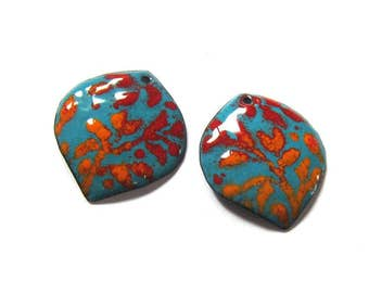 Artisan findings Enamel jewelry components Unique earring charms Turquoise and red botanical nature inspired enameled copper petals