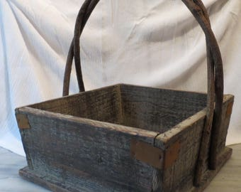 Wooden Farmhouse Basket with Metal Reinforcements