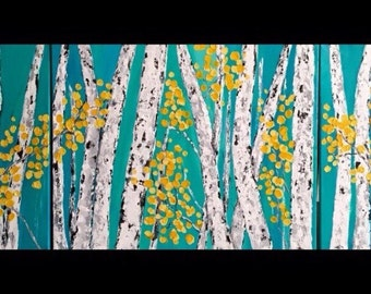 Aspen Birch Tree Wall Art Triptych Original Acrylic Painting  commission ships free in 7-10 business Days