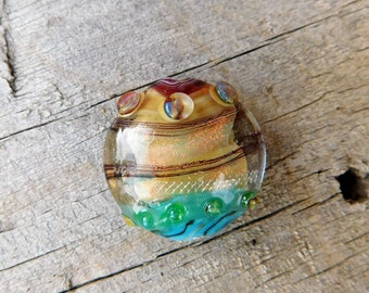 Lampwork Bead - Glass Bead - Focal Bead - Statement Bead - Sand and Sea - earth tones