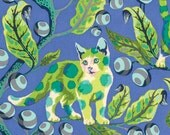 Disco kitty in blue bird from the Tabby Road fabric collection by Tula Pink for Free Spirit fabrics