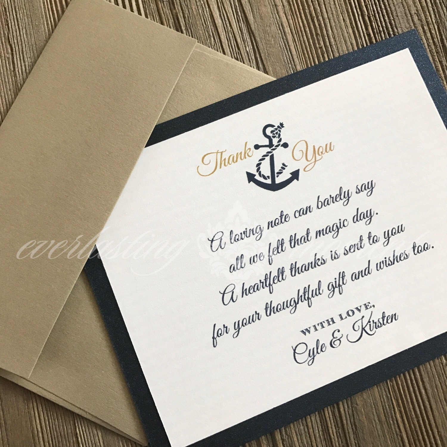 Nautical Thank You Card Gold and Navy Wedding Thank You Nautical ...