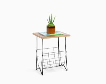 Vintage Mid Century Modern Wire Rod Side Table with Magazine Rack