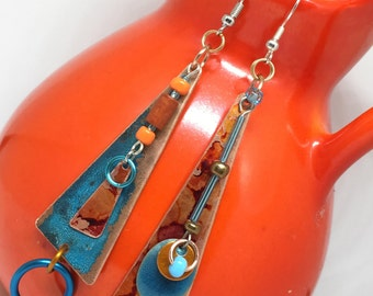 Santa Fe Dreamin' - Orange and Turquoise Asymmetrical Earrings