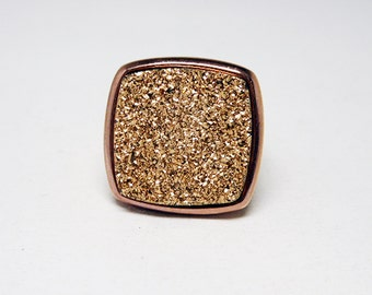 Pink Goldtone & Druzy Quartz Ring -  Square Glittery Gemstone - Signed Bronze Milor Italy - Cigar Band Style - Italian Sterling Silver