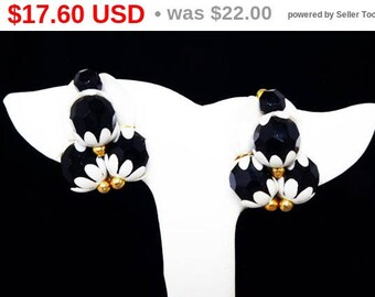 Spring Sale Black & White Earrings - Clip on Earrings - Lucite Plastic Beads - Beaded w/ Flower End Caps - Faux Baroque Pearls - Mid Cent...