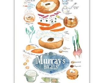 Bagel print, Kitchen art print, Illustrated recipe poster, Bagel recipe illustration, Kitchen decor, Food print, NYC print, Watercolor print
