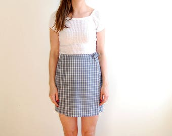 vintage 90's checkered wrap around skirt size small