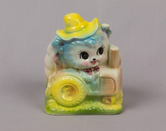 Kitten driving a tractor planter, Great for boy baby's room, Blue farmer animal, Yellow hat, Big black eyes, Excellent condition, Unsigned