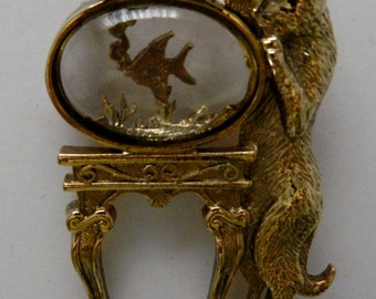 Brooch / Pin Gold Tone Cat and Lucite Fish Bowl with Fish Vintage
