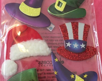 Jolee's Boutique Holiday Hats Dimensional Stickers Set of 8 3D Embellishments