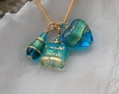 Blue Venetian Murano Glass Charm Necklace