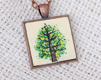 Pine Tree Necklace- Pine Tree Jewelry- Christmas Tree Necklace- Art Pendant- Pacific Northwest- Forest Necklace- Nature Necklace For Her