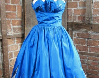 On Sale 1950s Electric Blue Tulle Sequined Shelf Bust Strapless Party Dress
