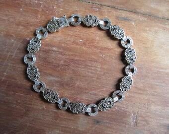 Vintage Sterling Silver Marcasite Bracelet 925