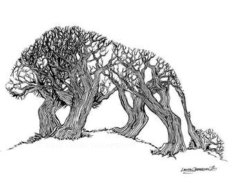 TreeLion - ink illustration drawing of a lion made of trees in a forest optical illusion art