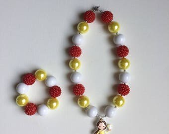 Beauty and the Beast Jewelry - Princess Belle Jewelry - Belle Bracelet - Belle Party Favor - Beauty and the Beast Party -Belle Necklace
