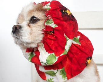 Red Poppy Dog Snood, Cotton Long Ear Coverup, Cavalier King Charles or Cocker Snood