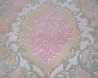 Vintage Wallpaper c1970s Flocked Pink Celery Green Cream White Valentine Mixed Media Shabby Cottage SVF French Romantic Decor Repurpose