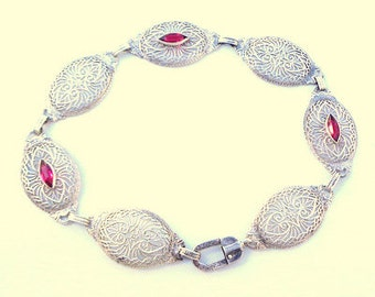 Victorian, Sterling Silver, Filigree, Antique Ruby Bracelet, Very Old, Art Deco