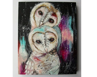folk art Original owl painting whimsical boho mixed media abstract art painting on wood panel 8x10 inches - A pocket full of dreams