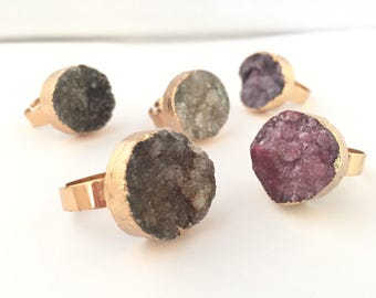 Druzy ring natural beauty purple gray black gemstone