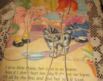REDUCED Vtg Mid Century Ruth E Newton Boy Girl Cat Motto Puzzle, Complete KIDDEE PUZZLE