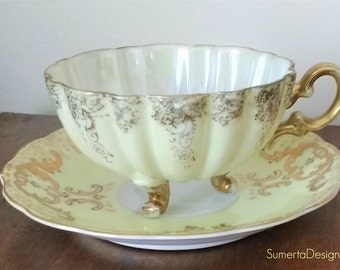 Pale yellow Shafford tea cup ~ gold tea cup ~ Shafford lusterware ~ teacup ~ Shafford Japan ~ pearlized ~ Japanese tea cup ~ footed tea cup